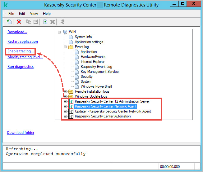 Klactgui utility window with the Enable tracing link highlighted.