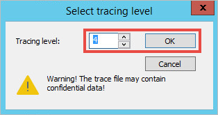 Tracing level selection pop-up in the klactgui tool.