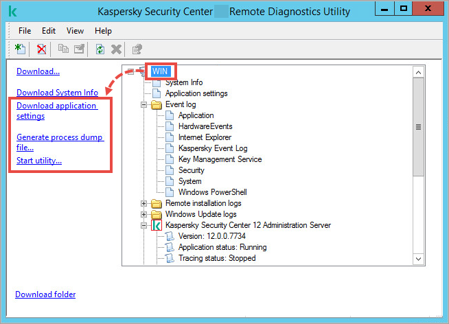 The klactgui utility window with the remote device item selected and additional options highlighted on the left.