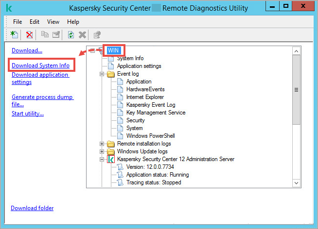The The klactgui utility window with the remote device item selected and Download System Info highlighted on the left.