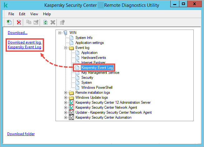 The klactgui tool window with the Event log folder open and Download event log option highlighted.