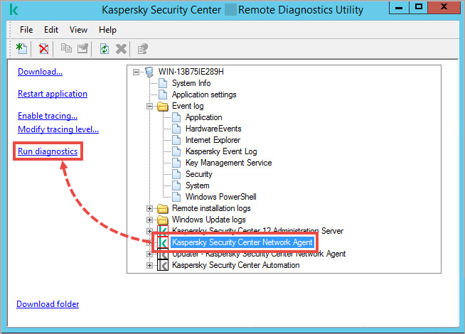 The klactgui tool window with the Run diagnostics item highlighted.