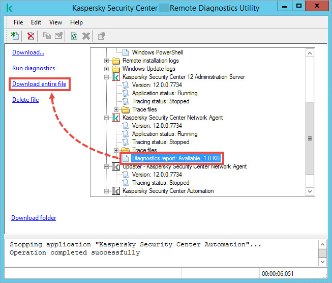 The klactgui tool window with the Diagnostics report selected and the Download entire file item highlighted.