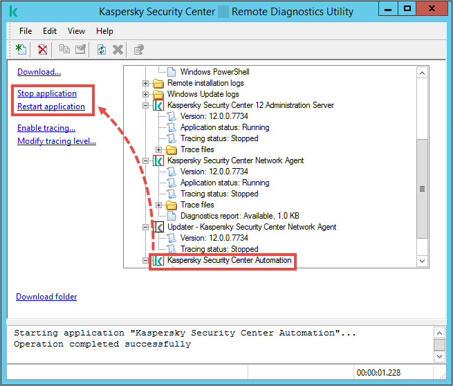 The klactgui tool window with the Stop application and Restart application items highlighted.