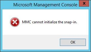 MMC cannot initialize the snap-in.