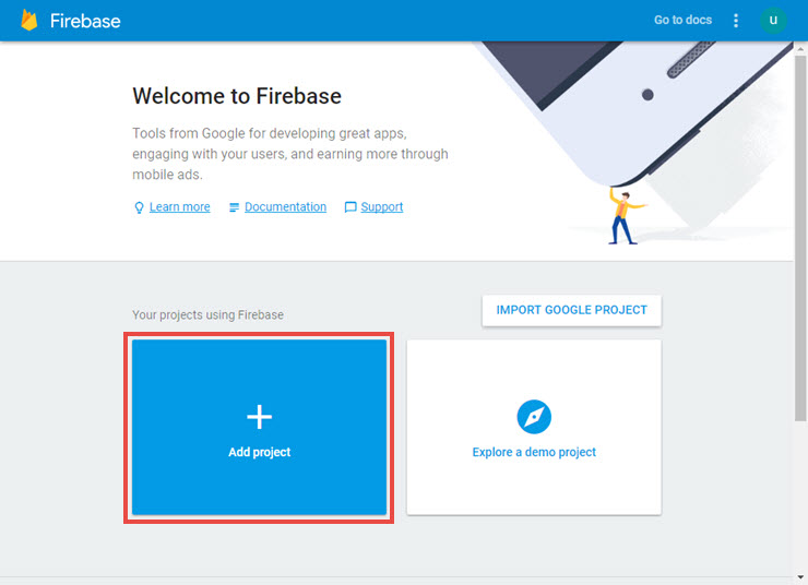 Image: the welcome window of Firebase Developers Console.