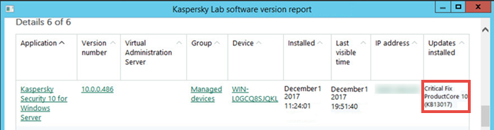 Report about application versions in Kaspersky Security Center 10