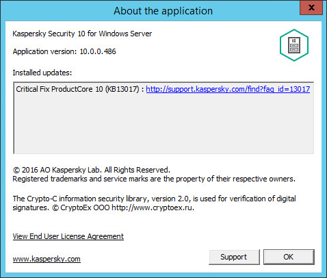 Viewing information about Kaspersky Security 10.x for Windows Server