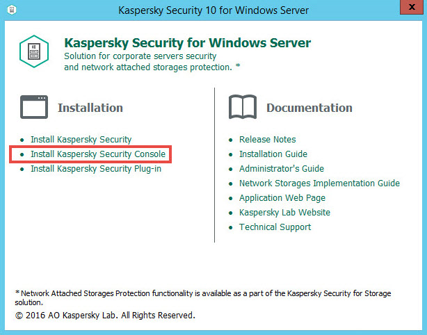 Image: the welocme window of Kaspersky Security 10 for Windows Server