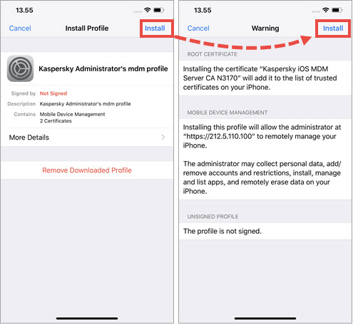 Installing an MDM profile on the iOS device
