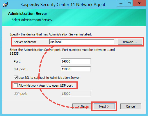 Setting up the connection between the Network Agent and the Administration Server