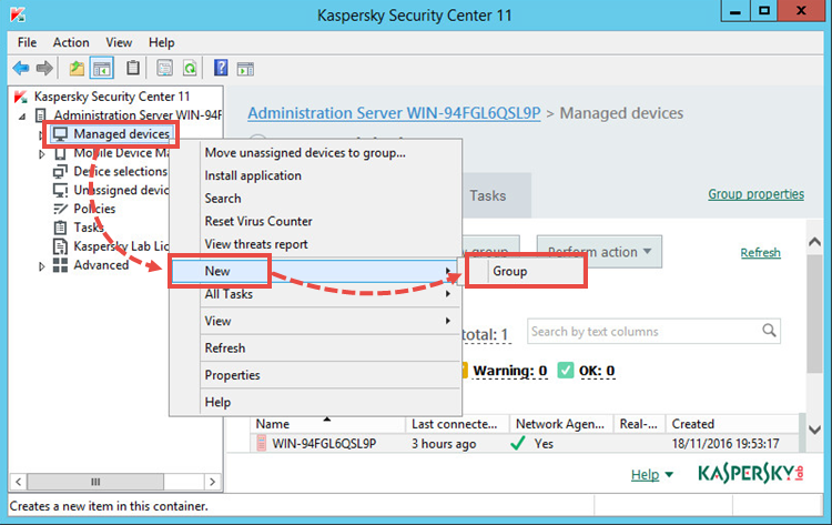 Creating a group of managed devices in Kaspersky Security Center 11