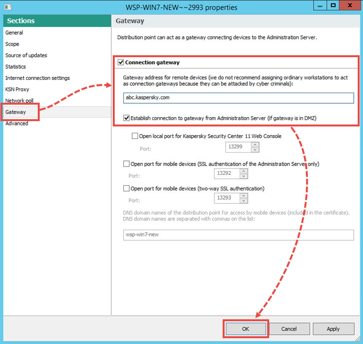 Editing distribution point settings in Kaspersky Security Center 11