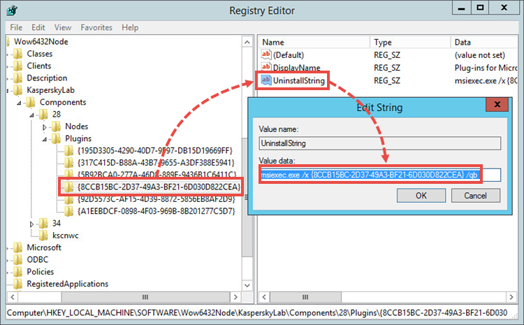 The UninstallString parameter in the system registry