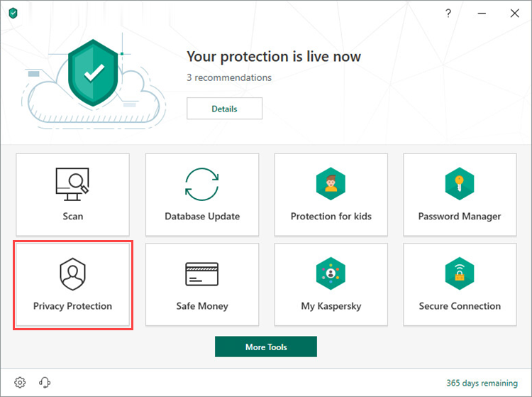 Opening the Privacy Protection window in Kaspersky Security Cloud 19