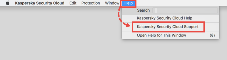 Opening the Support window of Kaspersky Security Cloud 19 for Mac