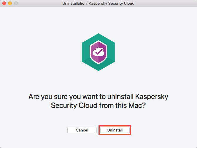 Confirming uninstallation of Kaspersky Security Cloud 19 for Mac