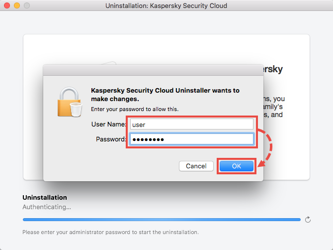 Window for entering the credentials for your Mac account