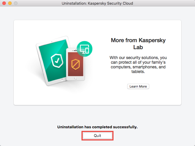 Quitting Kaspersky Security Cloud for Mac