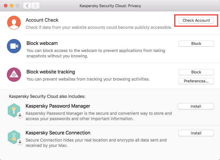 Starting a scan of a user account with Kaspersky Security Cloud 19 for Mac