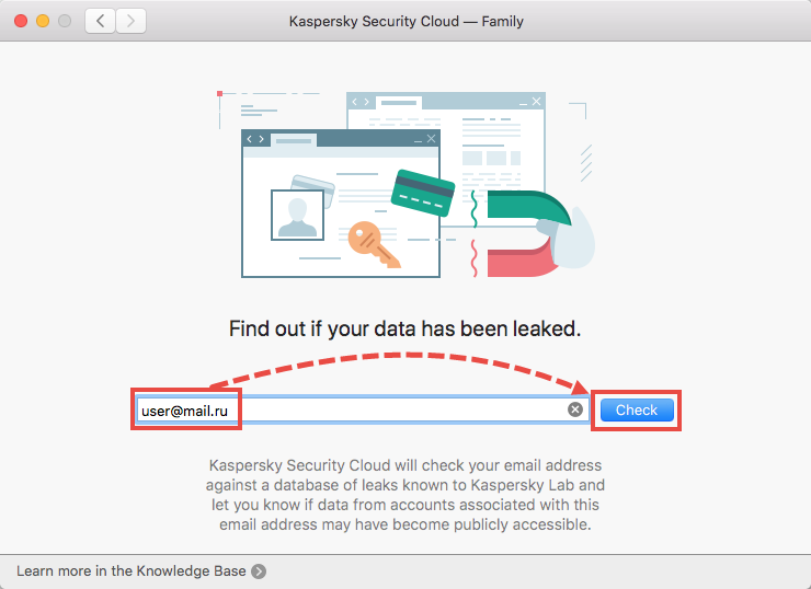 Scanning a user account with Kaspersky Security Cloud 19 for Mac