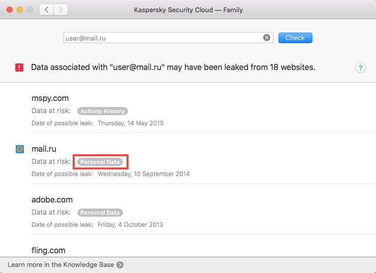 Opening the recommendations window of Kaspersky Security Cloud 19 for Mac