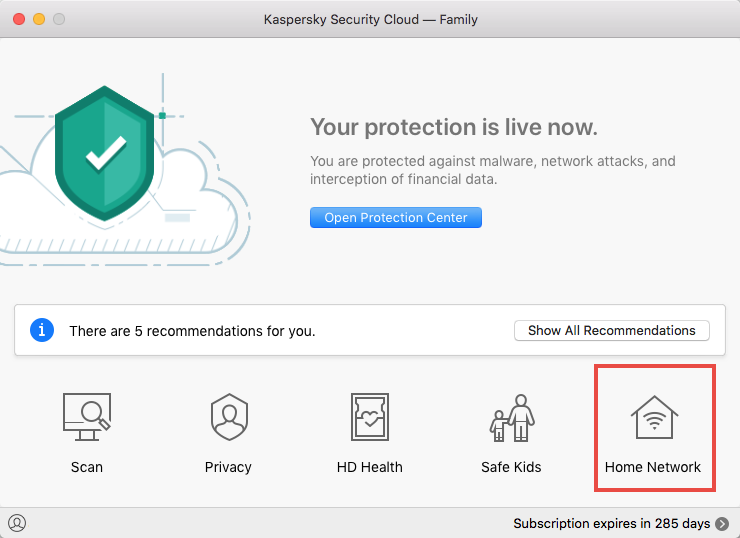 List of devices connected to your wireless network in Kaspersky Security Cloud 19 for Mac