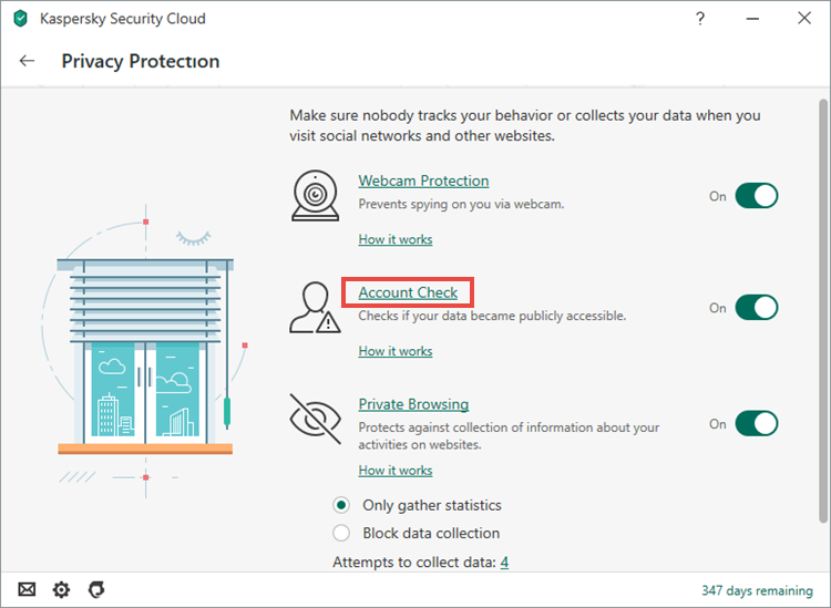 Opening the Account Check window in Kaspersky Security Cloud 20
