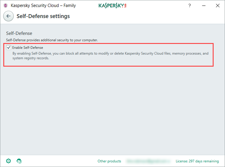 How to enable or disable Self-Defense in Kaspersky Security