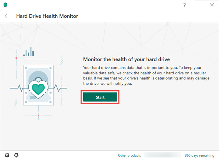 Starting hard drive diagnostics in Kaspersky Security Cloud 20