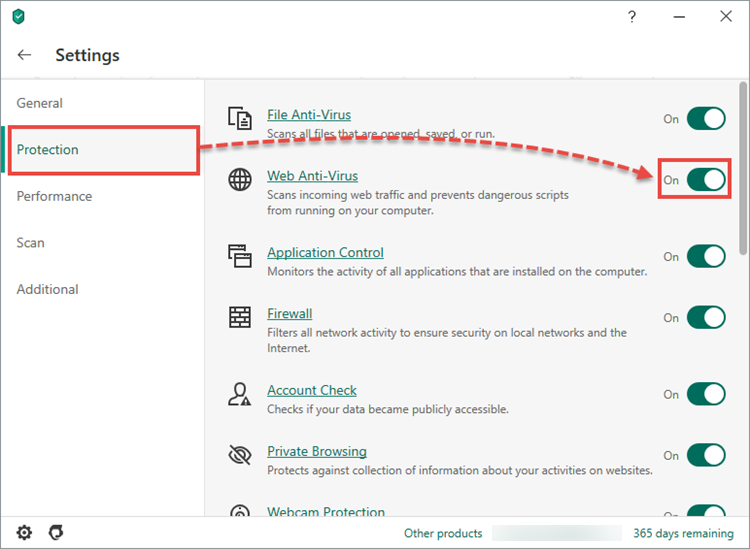 Enabling Web Anti-Virus in Kaspersky Security Cloud 20