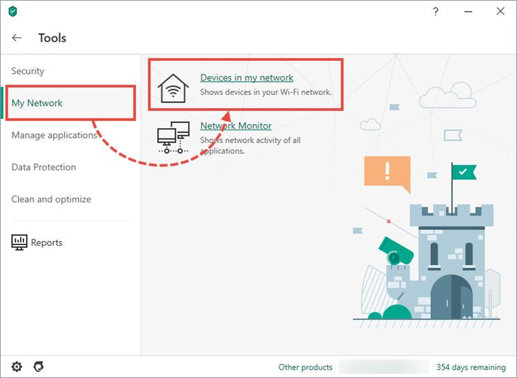 Viewing the devices connected to your wireless network in Kaspersky Security Cloud 20