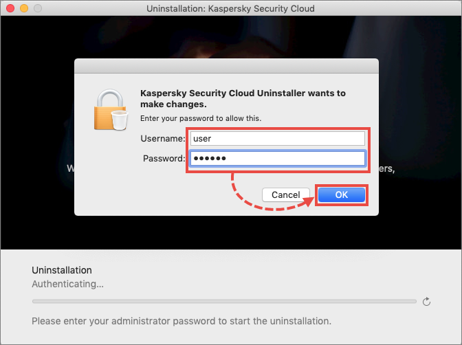 Entering administrator account credentials when uninstalling Kaspersky Security Cloud 20 for Mac