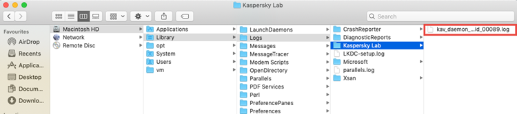 Folder with traces of Kaspersky Internet Security 20 for Mac