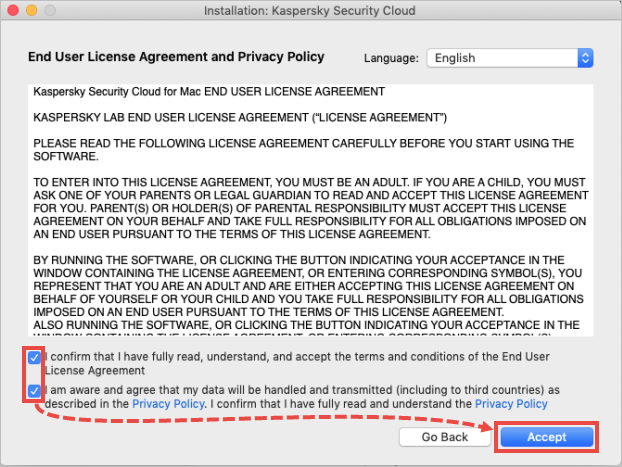 The License agreement and privacy policy window