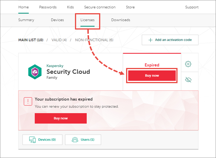 Renewing the subscription for Kaspersky Security Cloud 19 through My Kaspersky