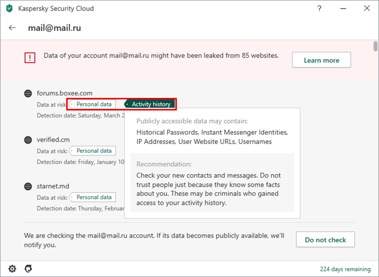 Viewing the results of an account leakage scan in Kaspersky Security Cloud 20