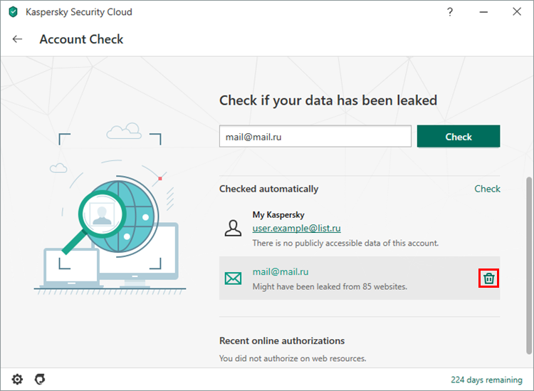 Canceling regular scan for an account in Kaspersky Security Cloud 20