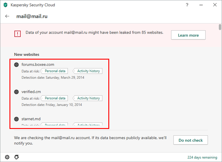 Detailed account check report in Kaspersky Security Cloud 20