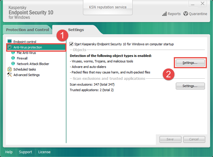 How to use a configuration file in kaspersky endpoint security 10.