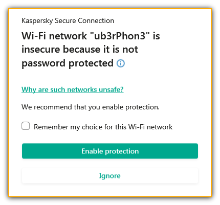 Kaspersky Secure Connection Wi-Fi network issue message