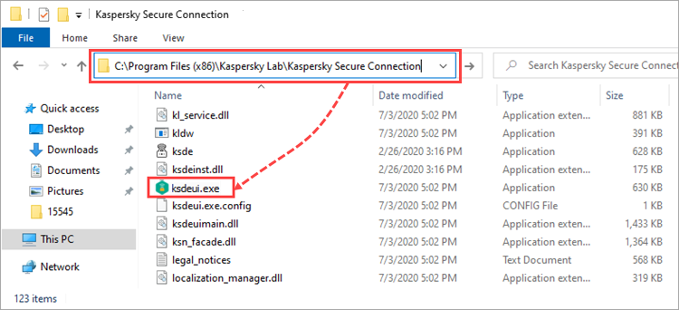 Running Kaspersky Secure Connection