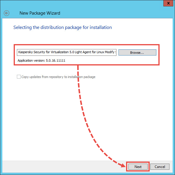 Selecting the installer for changing ports in Kaspersky Security for Virtualization 5.0 Light Agent