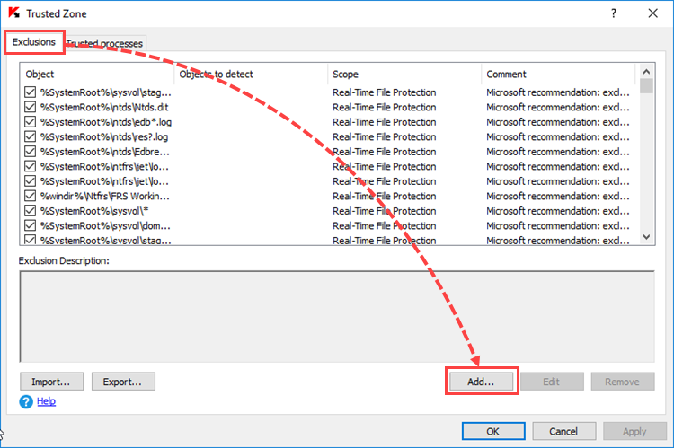 Adding exclusions to the Trusted Zone in Kaspersky Security 10.x for Windows Server