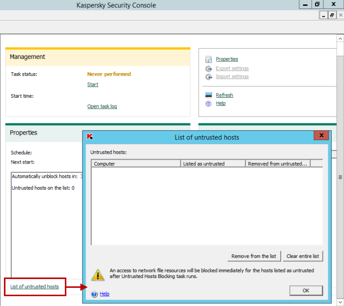Untrusted Hosts Blocking in Kaspersky Security 10 for