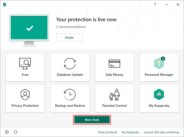 Opening More Tools in Kaspersky Total Security 19