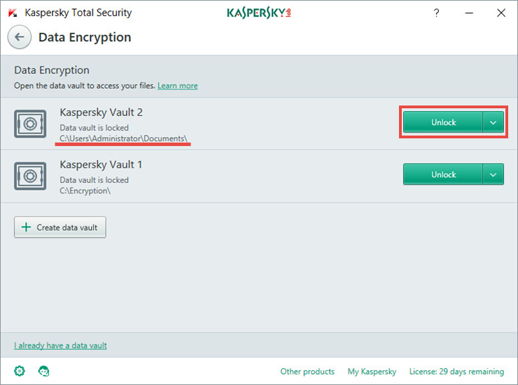 Image: the Data Encryption window in Kaspersky Total Security 2018