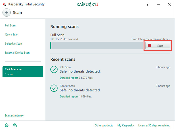 Image: stopping the scan task in Kaspersky Total Security 2018