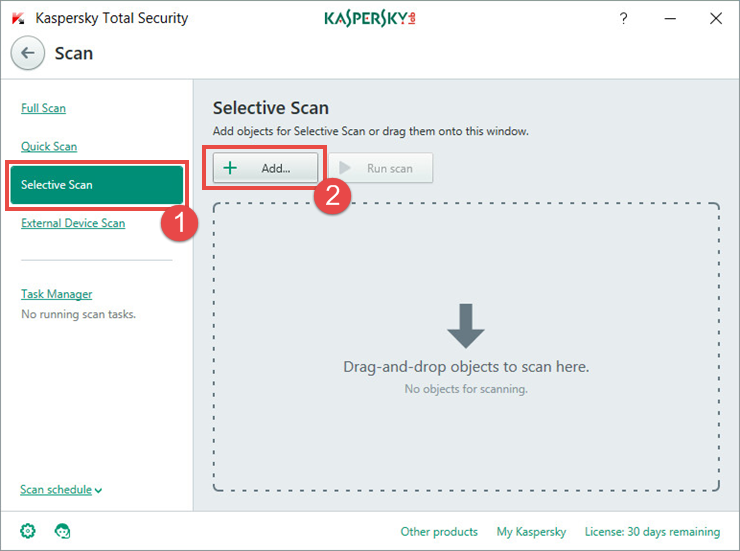 Image: scan window in Kaspersky Total Security 2018