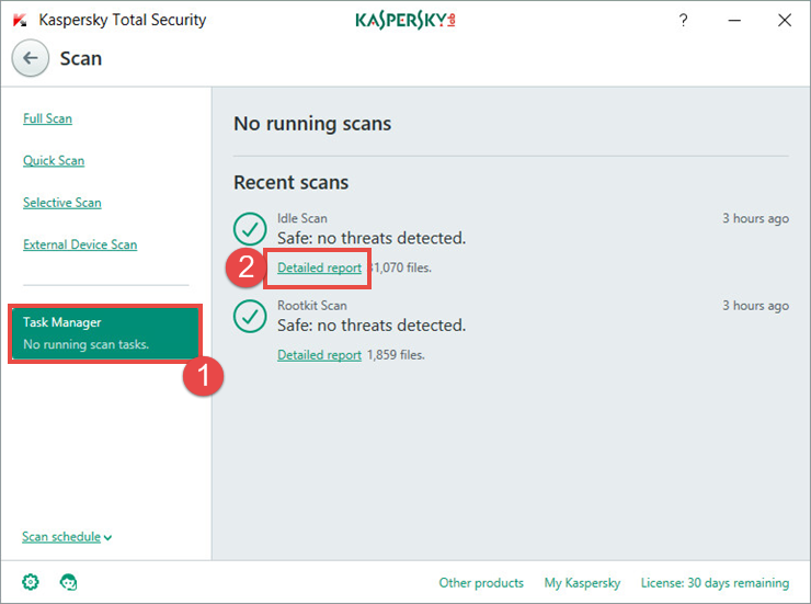 Image: the scan report window in Kaspersky Total Security 2018